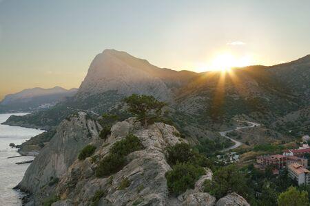 sudak:  Sunset in the mountains of Crimea, Sudak