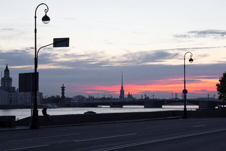 St  Petersburg at dawn  waterfront of the Neva  photo
