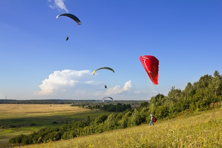 Multiple paragliders soar in the air amid wondrous landscape
