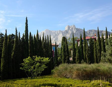 Houses with cypress amid mountain peaks and blue sky photo
