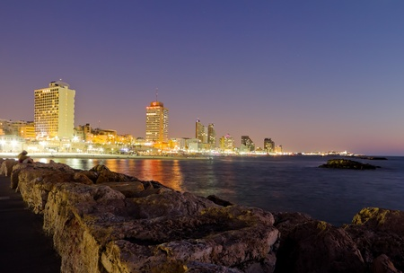 The Tel Aviv promenade, with night illumination