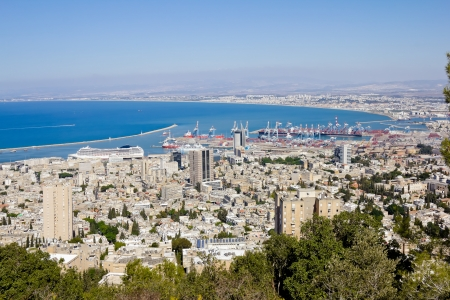 View from Mount Carmel to port and Haifa in Israel Sunny Mediterranean landscape Stock Photo