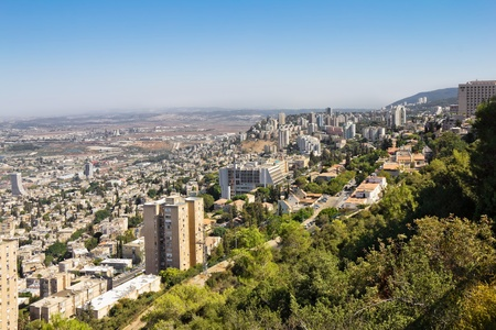 View from Mount Carmel to Haifa in Israel Sunny Mediterranean landscape
