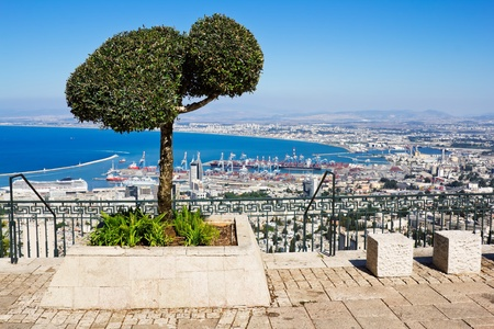 View from Mount Carmel to port and Haifa in Israel Sunny Mediterranean landscape Stock Photo - 15868605