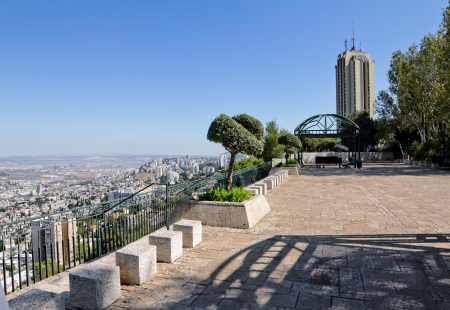 View from Mount Carmel to port and Haifa in Israel Sunny Mediterranean landscape Archivio Fotografico
