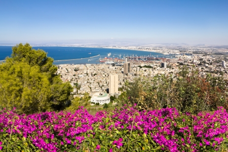 View from Mount Carmel to port and Haifa in Israel Sunny Mediterranean landscape 스톡 콘텐츠
