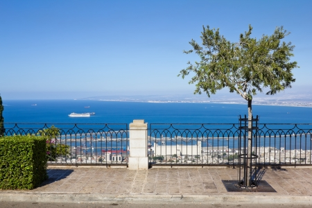 View from Mount Carmel to port and Haifa in Israel Sunny Mediterranean landscape Stock Photo - 15855442