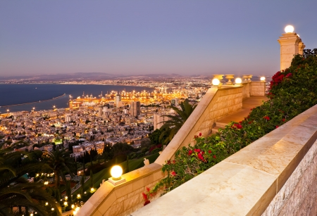 View from Mount Carmel to port and Haifa in Israel photo