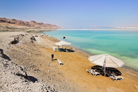 The beaches at the dead sea in Israel photo