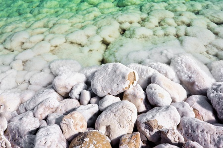 The overgrown stones salt waters of the dead sea in Israel Stock Photo
