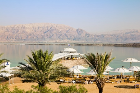 The beaches at the dead sea in Israel Stock Photo