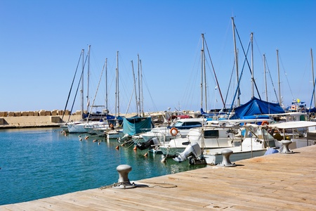 The port at Jaffa in Israel on a sunny day photo