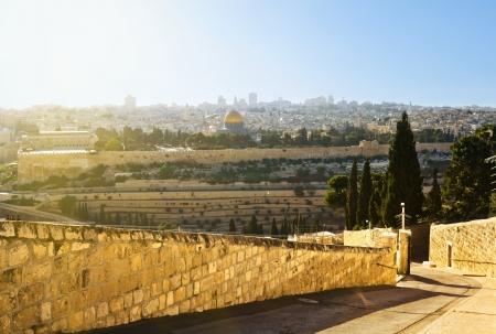 Mosque of Caliph Omar  dome of the rock   in Jerusalem   View from the mount of Olives  photo