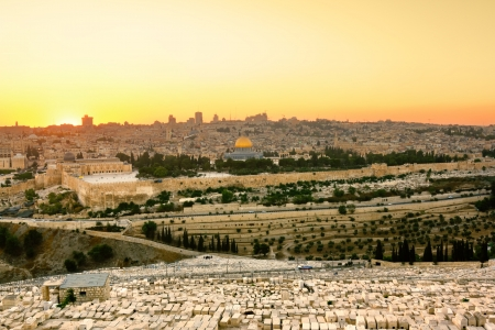 prayer tower: Mosque of Caliph Omar  dome of the rock   in Jerusalem at sunset  View from the mount of Olives