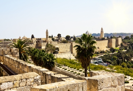 View from the walls of old Jerusalem, Israel