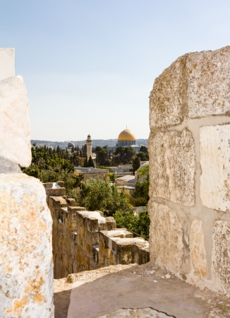 View from the walls of ancient Jerusalem rooftops and dome of the rock Stock Photo - 16528921