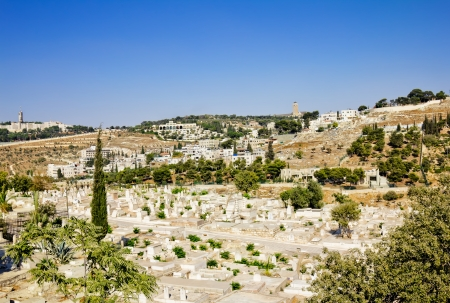 The ancient Muslim cemetery near the walls of ancient Jerusalem Stock Photo - 16528932