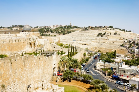 jewish home: View from the walls of Jerusalem on the Zion Christian gate and the Mount of Olives Editorial