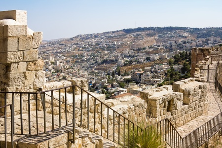 damascus: View from the walls of ancient Jerusalem  to neighborhoods and city rooftops