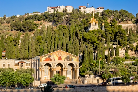 mount of olives:      Gethsemane, and the Church of all Nations   on the Mount of olives in Jerusalem Stock Photo