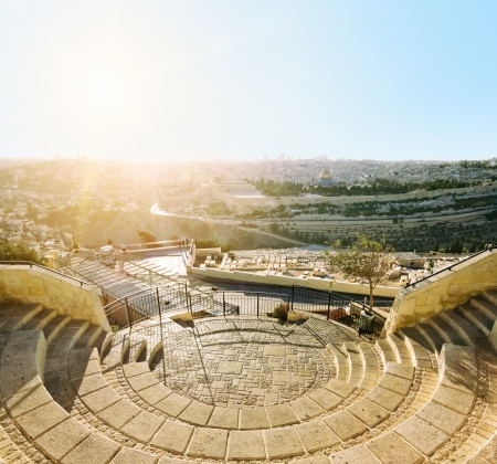 Mosque of Caliph Omar  dome of the rock   in Jerusalem at sunset  View from the mount of Olives Stock Photo - 16842729