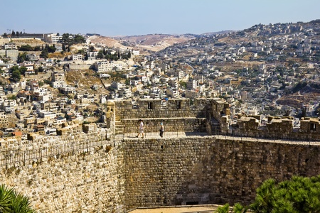 View from the walls of ancient Jerusalem  to neighborhoods and city rooftops Stock Photo - 16837763