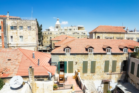 View from the walls of ancient Jerusalem  to neighborhoods and city rooftops