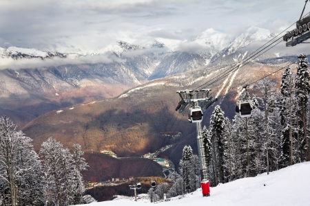 ski lift in Sochi Krasnaya Polyana photo