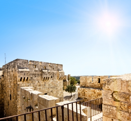 View from the walls of ancient Jerusalem  to neighborhoods and city rooftops Stock Photo - 18546583