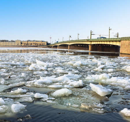 Spring ice floes on the River Neva in St Petersburg Liteiny bridge view
