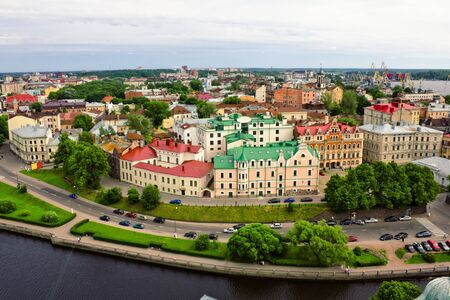 vyborg: View on the roofs of Vyborg from the height of bird flight