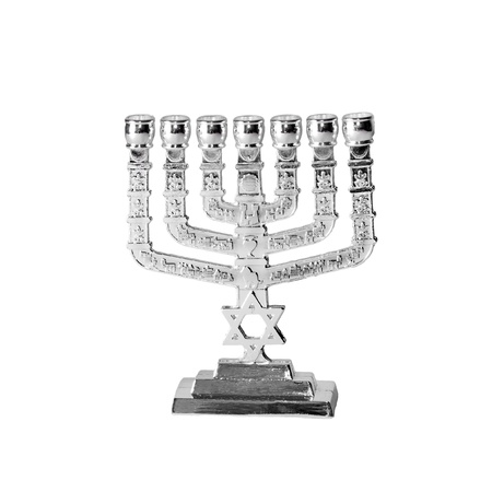 hanoukia: Chandeliers juifs-menorah sur un fond blanc