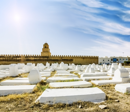 The ancient Muslim cemetery across from the mosque in Kairouan in Tunisia on a sunny day Editorial
