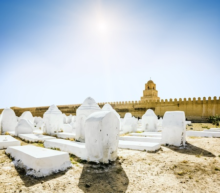 kairouan: The ancient Muslim cemetery across from the mosque in Kairouan in Tunisia on a sunny day Editorial