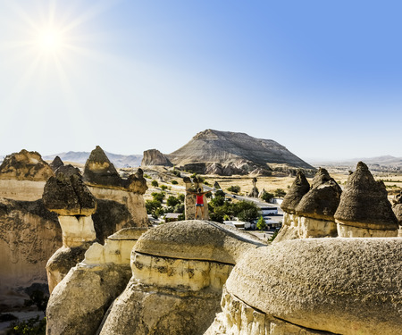 strange mountain: Bizarre rock formations of volcanic Tuff and basalt in Cappadocia, Turkey