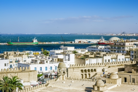 View from the heights over the port and the Medina of Sousse Tunisia photo