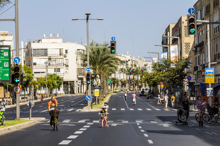 The streets of Tel Aviv during the holiday Yom Kippur, September 26, 2012