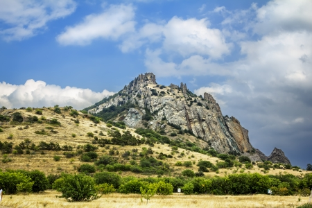 Kara Dag massif, Crimea, extinct volcano Kara-Dag mountain reserve, Ukraine photo