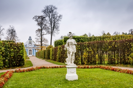 Pavilion  Grotto  in the Catherine Park in Pushkin in autumn The Apollo Sculpture Tsarskoye Selo