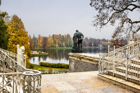 The Palace Ensemble Tsarskoe Selo  Autumn  Sculpture of Hercules from the Cameron Gallery