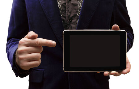 A man shows the Tablet-PC on a white background photo