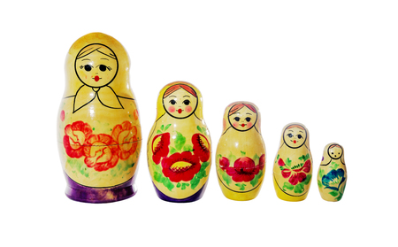 matroshka: Multi-colored dolls matrioshka on a white background