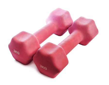 kg: Pink dumbbells 3 kg on a white background Stock Photo