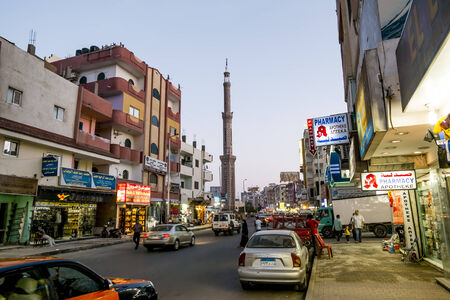 The central street of Hurghada Sharaton in Egypt in evening illumination 15 april 2014