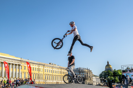 Competitions the BMX riders at youth day at the Palace Square\ in St. Petersburg on June 28, 2014,Victor Peskov ,Russia\