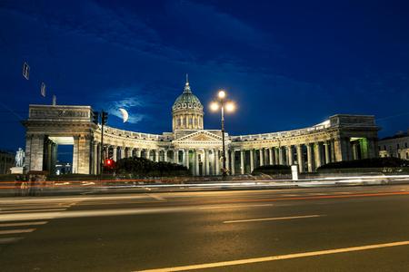 kazansky: The Kazan Cathedral in St. Petersburg at night illumination in white nights