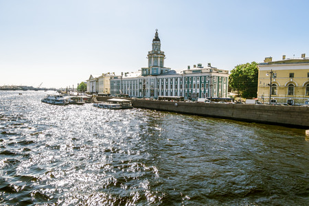 Views on University embankment in Saint Petersburg, on a bright sunny day July 25, 2014