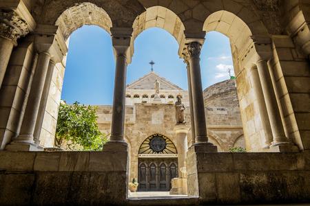 virgen maria: Vista de la iglesia de la Natividad de Belén, Jerusalén, Israel