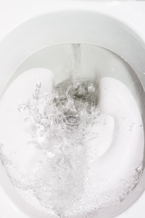 flushing: Draining the water in the toilet in the toilet