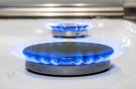 Blue fire burning gas burner household gas ovens
